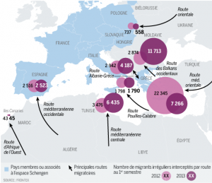 Image 1: Frontex, Migration to Europe 2012 and 2013