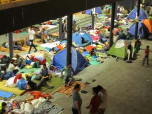 Fig 1: Refugees at Budapest Keleti station